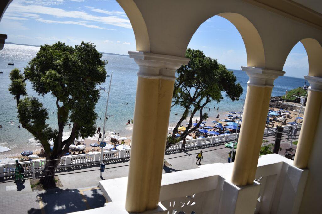 Beach front balconies at Village Novo Hotel.